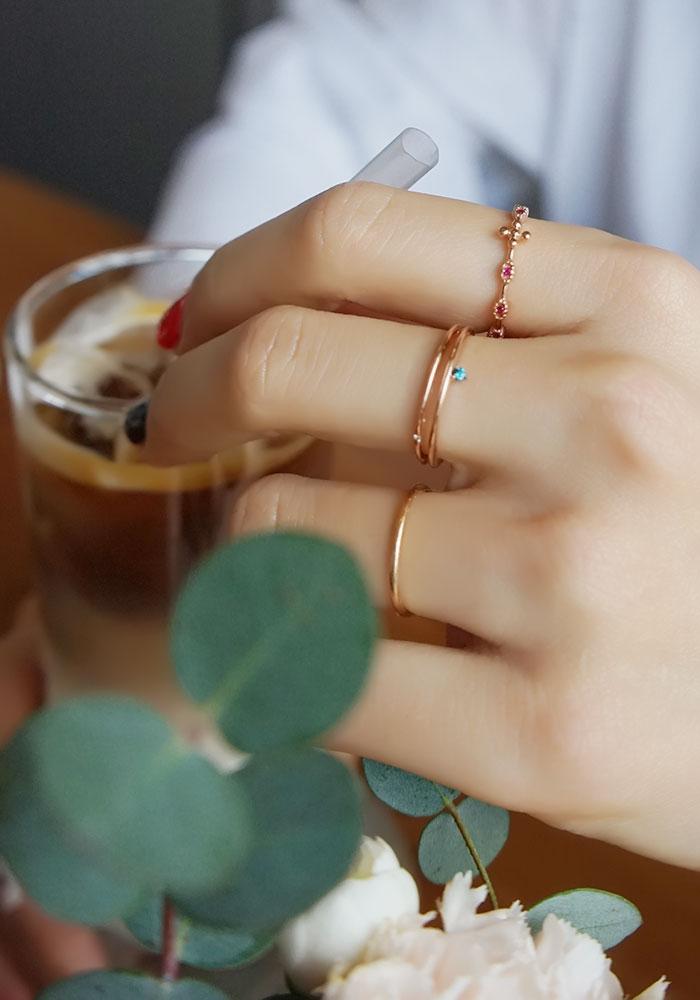 14k 핑크골드 똥글 십자가 루비 묵주반지 - 안즈, 218,000원, 골드, 14K/18K